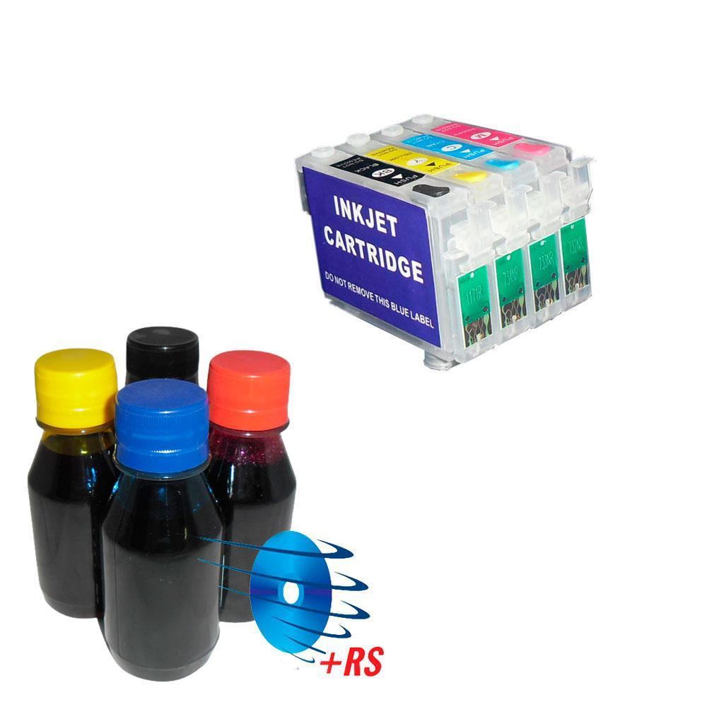 Cartuchos Recarregáveis para Epson R210, R220, R300... - com Tinta 1 Unidade com Tinta Formulabs 600g ( 100g Cada Cor )