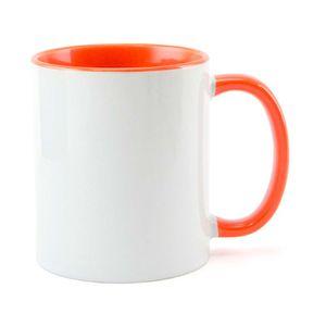 Caneca-para-Sublimacao-com-Alca-e-Interior-Laranja---em-Ceramica-Branca