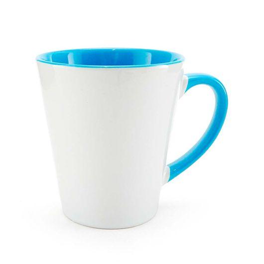 Caneca-Conica-para-Sublimacao-de-Ceramica-Branca-com-Alca-e-Interior-Azul-Claro