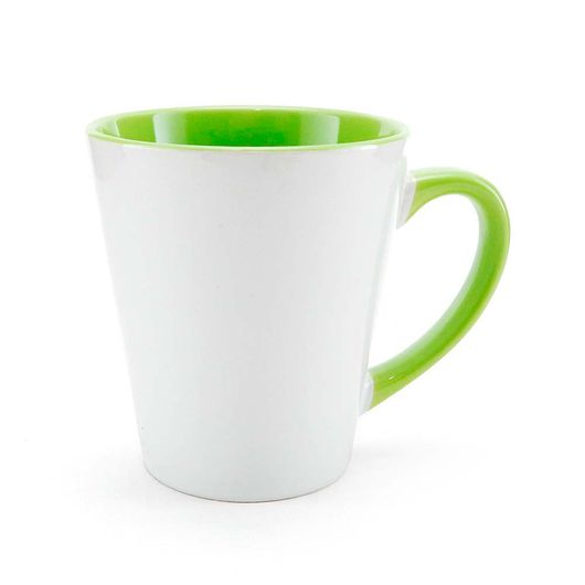 Caneca-Conica-para-Sublimacao-de-Ceramica-Branca-com-Alca-e-Interior-Verde-Claro