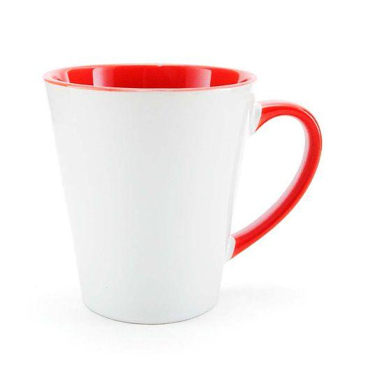 Caneca-Conica-para-Sublimacao-de-Ceramica-Branca-com-Alca-e-Interior-Vermelho