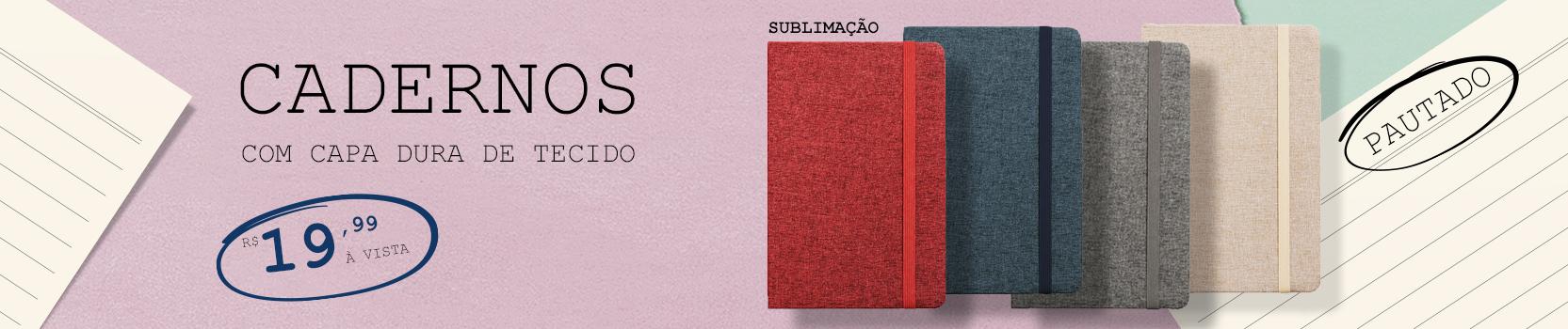 Caderno capa tecido / caneca base gliter