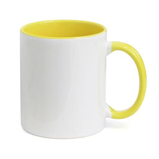 Caneca-para-Sublimacao-com-Alca-e-Interior-Amarelo---em-Ceramica-Branca
