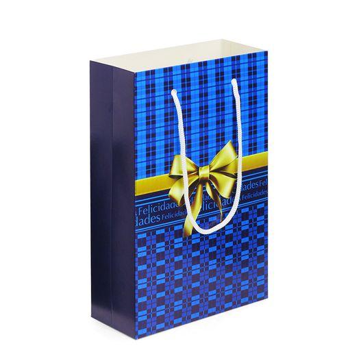 Sacolinha-de-Papelao-Decorada-Tipo-Presente-Azul-Felicidades-18x28x75cm
